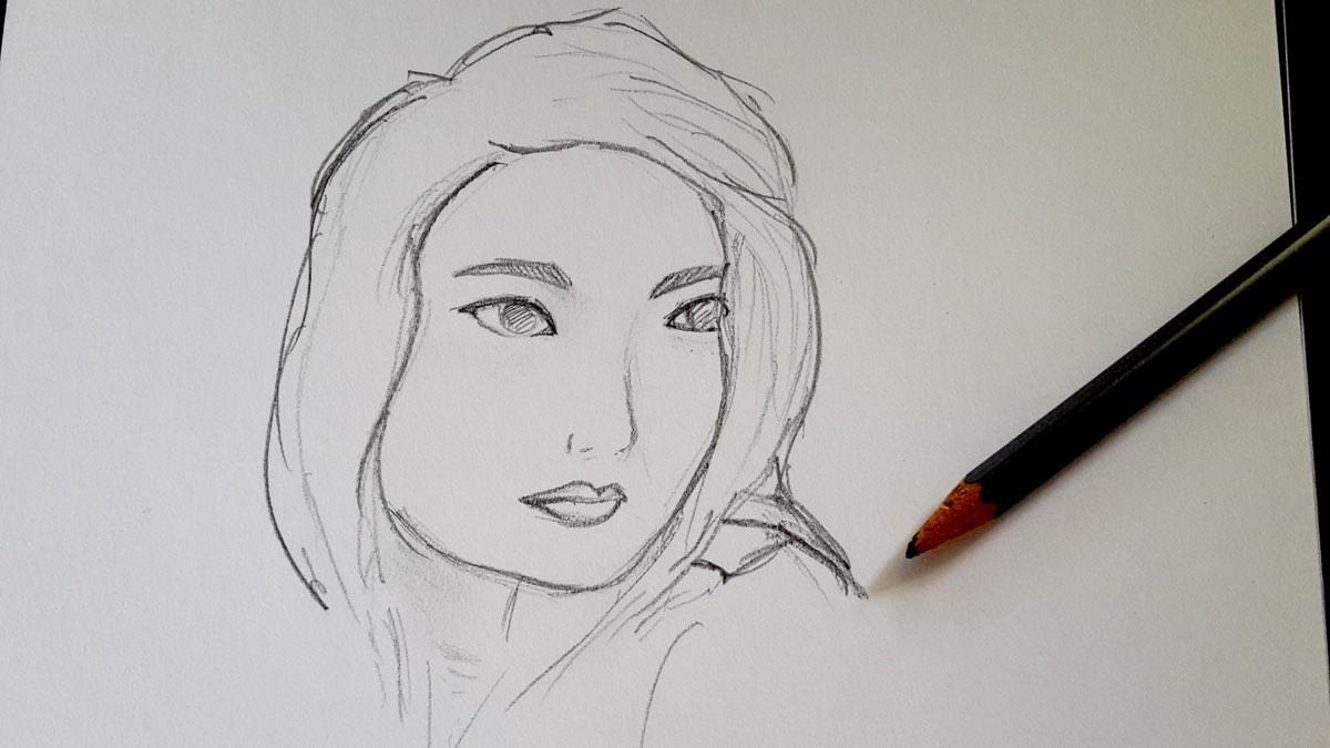Pencil sketch of a Adria Yuan, the protagonist in Chasing Sisyphus by JL Peridot