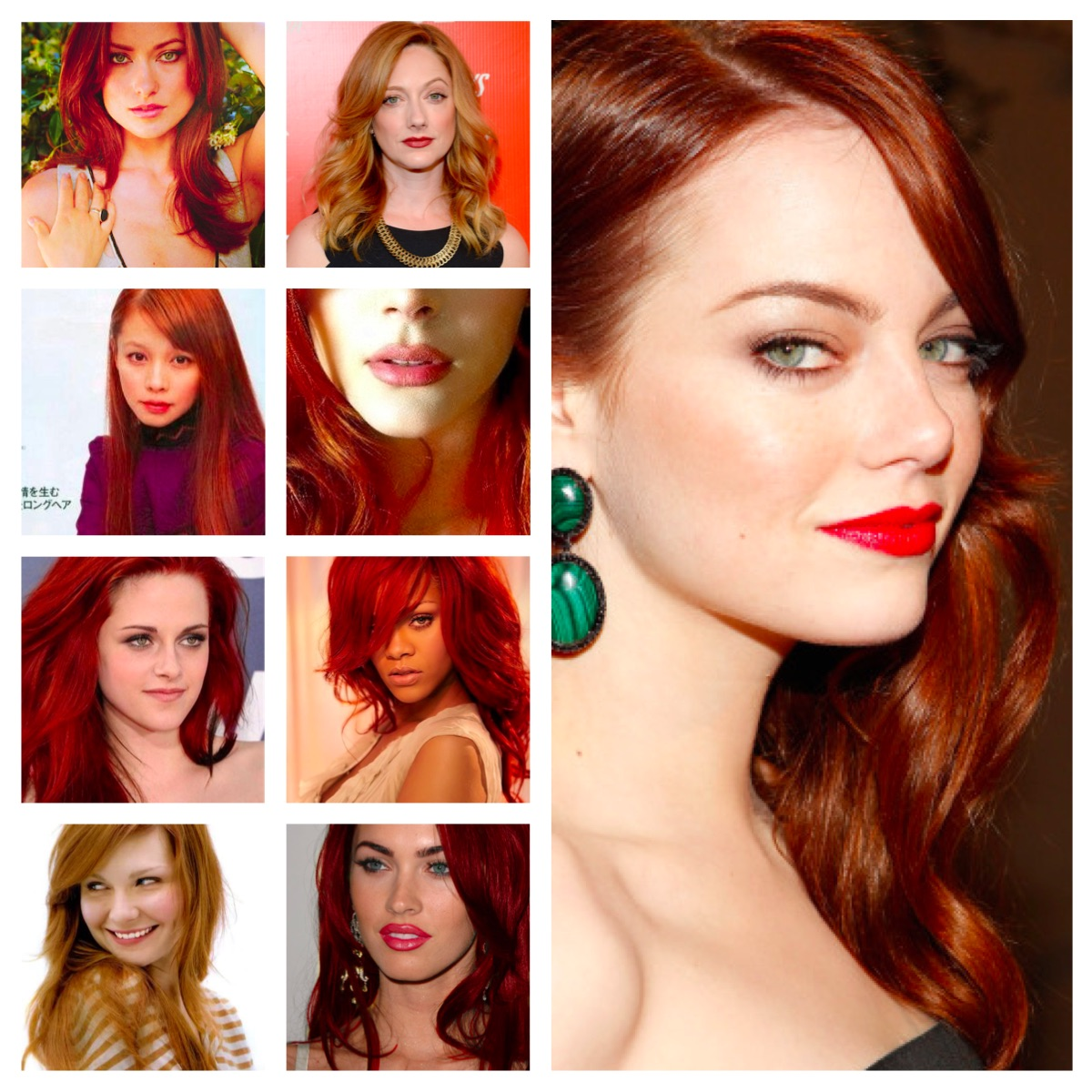 Redhead celebrities in a collage