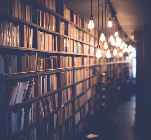 A warmly lit wall of books