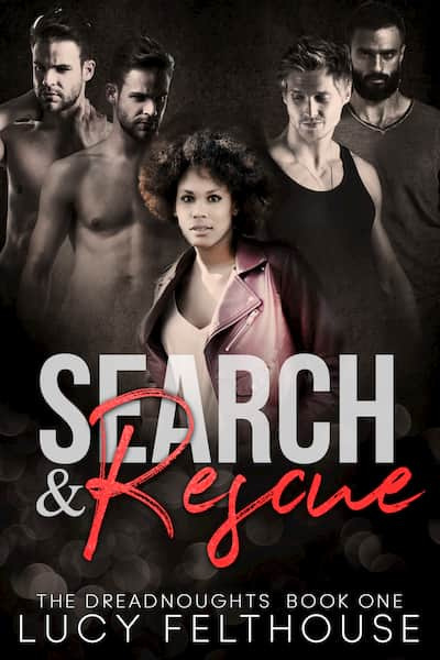 The heroine and four heroes stand together on the cover of Search & Rescue, a reverse harem romance by Lucy Felthouse