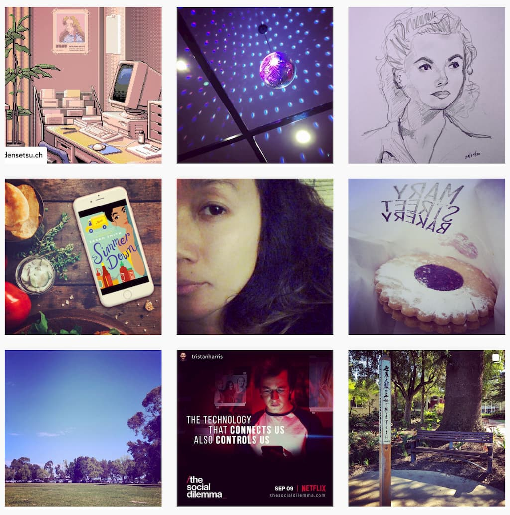 A 3x3 Instagram grid of miscellaneous photos