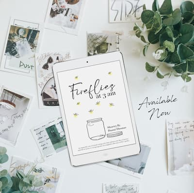 E-book copy of Fireflies at 3am on a flatlay of dreamy photos