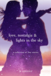 A starry silhouette of a couple dancing on the cover of Love, Nostalgia & Lights in the Sky by JL Peridot