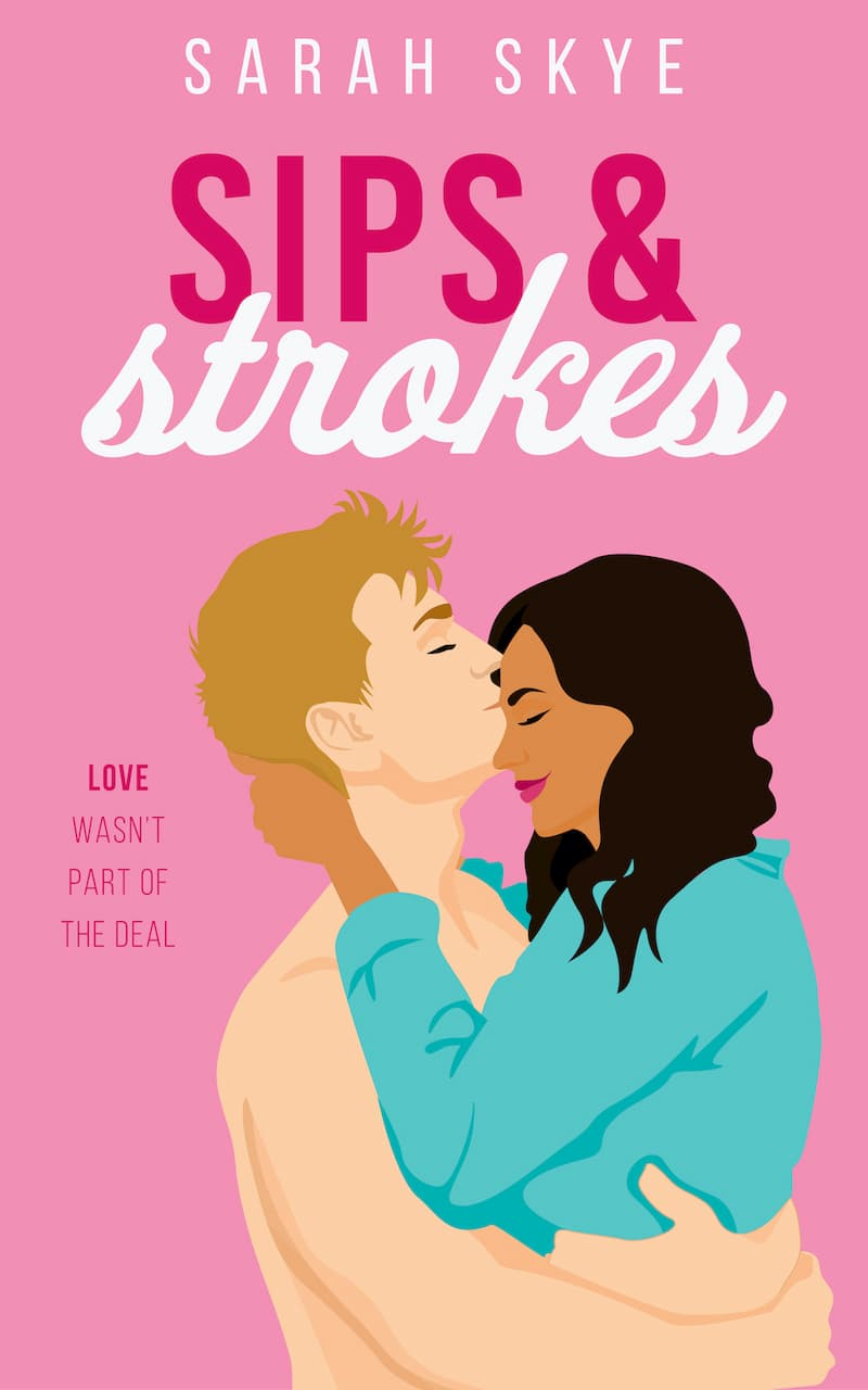 A Filipina woman and White man in a loving embrace on the cover of Sips & Strokes by Sarah Skye