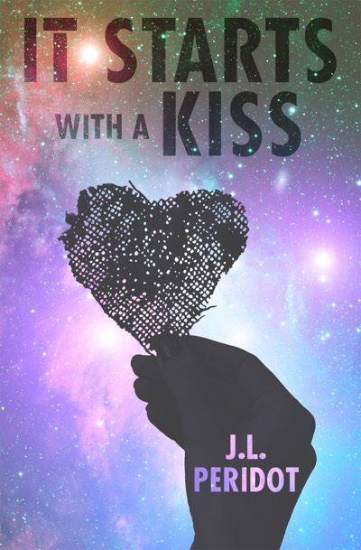 A hand holds a wire mesh heart against the backdrop of a pink and blue galaxy sky on the cover of It Starts with a Kiss by JL Peridot